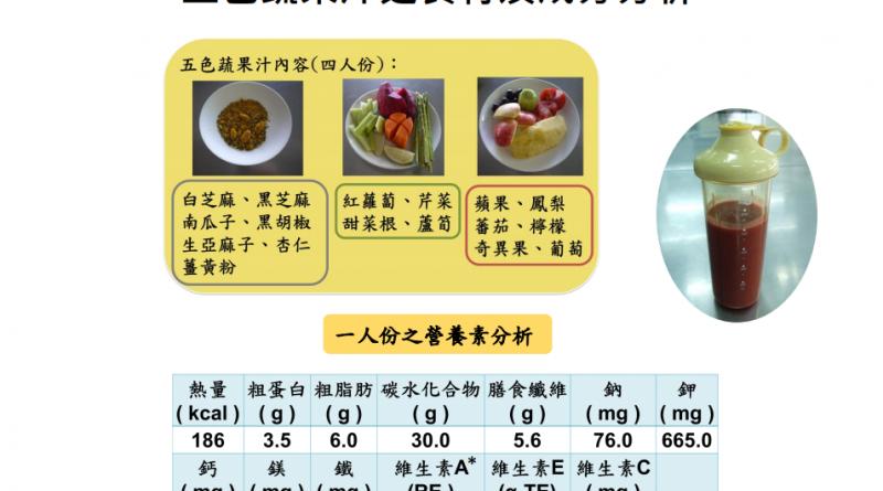 五色蔬果汁之食材及成分分析